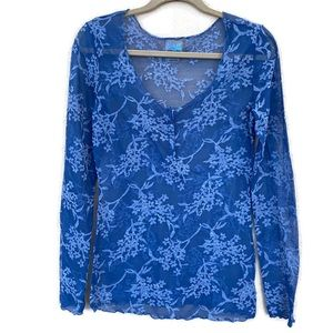Intimately Free People Floral Blue Top Size Large